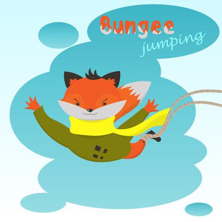 bungee jumping: puenting: Fox lindo de la historieta salta el�stica en el fondo de las nubes
