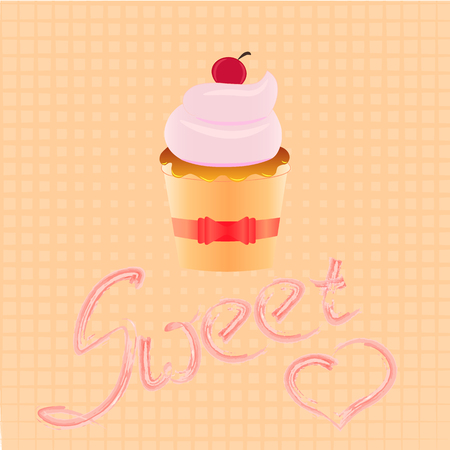 confectionary: confectionary, sweet cupcake with pink cream and ribbons retro dessert emblem element design template in the style of pop art, layout, birthday or wedding invitation, postcard picture Illustration