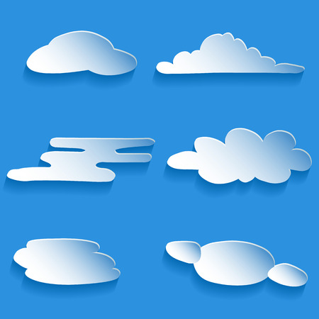 a set of cartoon clouds of different styles on gradient background Çizim