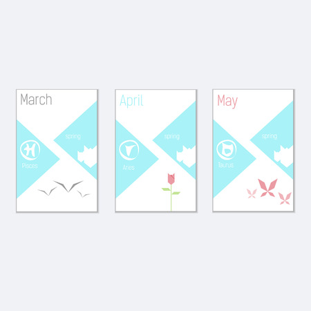 horoskop: vector brochures, a set of templates for calendar for spring with geometric shapes