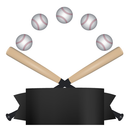 A dynamic baseball template with black banner, and crossed bats