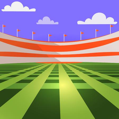 infield: baseball stadium c lawn and tribunes, vector image Illustration