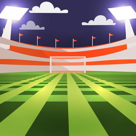 bleachers: Vector Football field, green turf, football gates and the stands with spotlights.