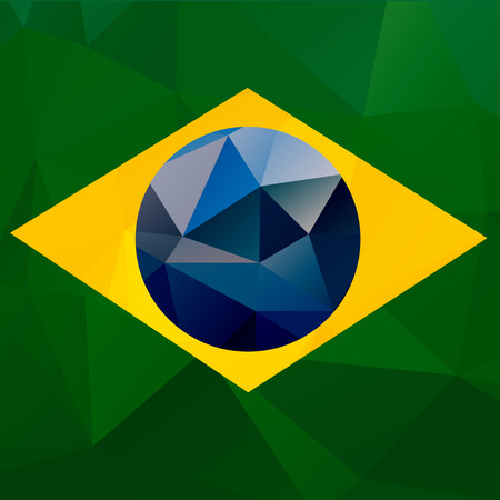olympic game: Brazil flag vector geometric background pattern concept with green triangles. Brazil flag concept. Brazil colors