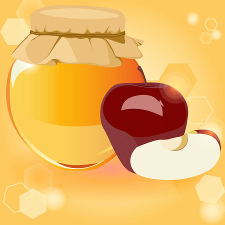 happy Rosh Hashanah, honey, Apple - the traditional symbols of the holiday, the Jewish New year, vector illustration for a flyer