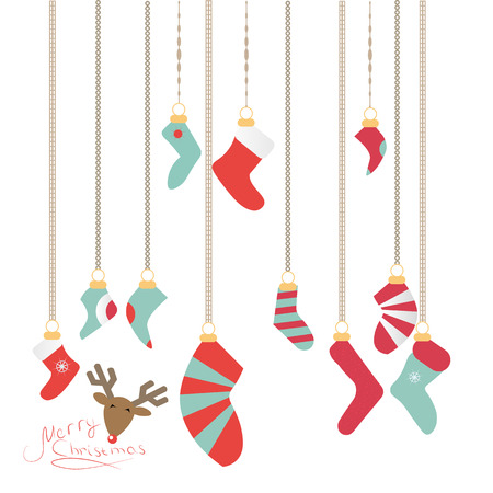 Christmas socks hanging on a magic thread, new years is a deer, merry Christmas and happy new year