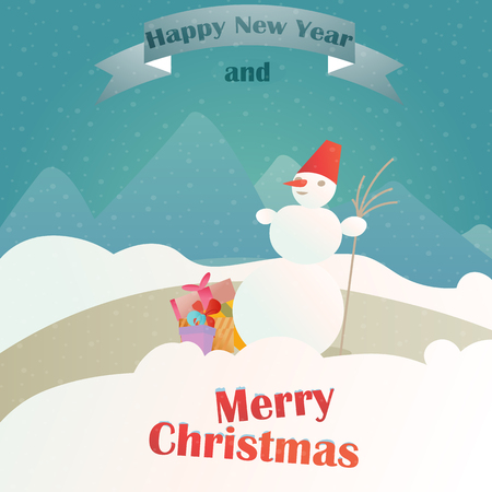 Christmas gifts on the background of a winter landscape, colorful boxes and snowman template for Christmas cards, a banner for a flyer, merry Christmas and happy new year