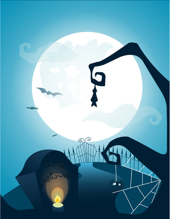 Blue Halloween background with full moon, bats, grave with the inscription and pumpkin, a banner for a flyer