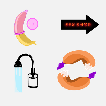 sex shop: Set of vector icons sex shop, toys for vrolyk, role-playing