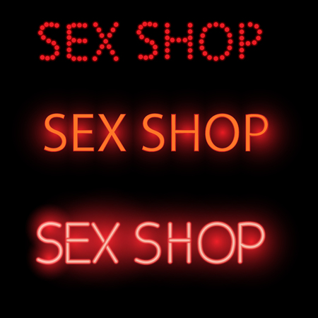 adult sex: neon sign - sex shop, a bright red Billboard, vector illustration, adult store