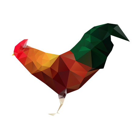 auspicious: colorful and vivid rooster polygon, Vector illustration for graphic design