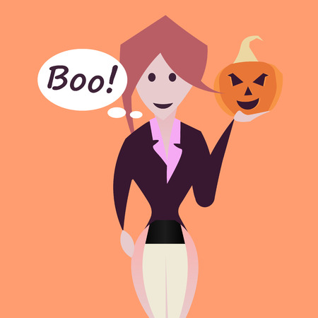 says: Cartoon girl in jacket, holding a pumpkin in hand, a girl says Boo. Happy Halloween Illustration