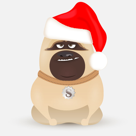 thoughtful: cute little bulldog cartoon dog in a red cap sits on a white background, cartoon character dog Santa Claus Illustration