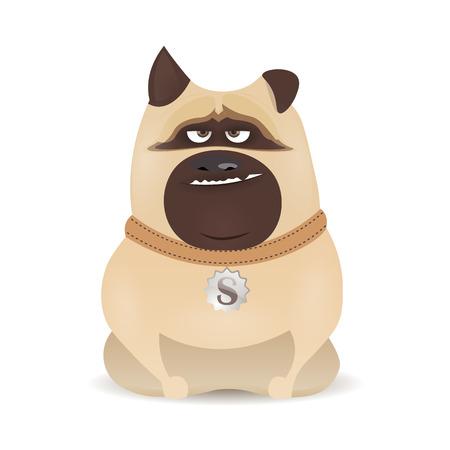 worthy: cute little bulldog, cartoon dog sitting on a white background, cartoon character Illustration