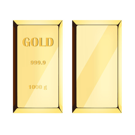 precious metal: Gold bar on white background, precious metal of yellow color. vector illustration