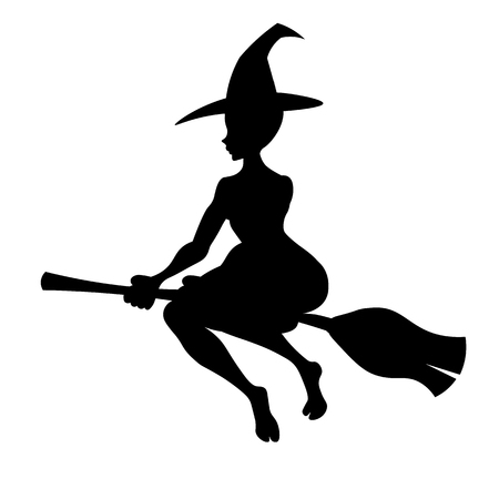witch on a broom vector black silhouette witch flying to the