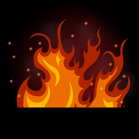 Illustration of burning fire on a black background, flames and smoke
