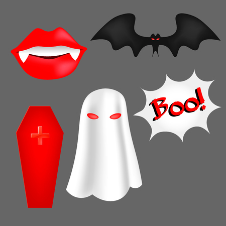 flying coffin: Vector set of cartoon objects for Halloween. Bat fangs, coffin, cross, Ghost. Elements for posters, postcards, invitations, labels.