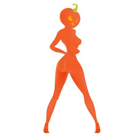 The girl with the pumpkin head on Halloween, white background, Lady Pumpkin, sexy monster