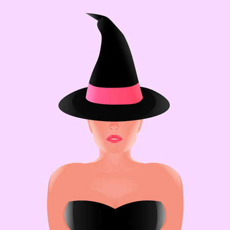Beautiful witch in black hat with pink ribbon, realistic portrait of a witch, happy Halloween