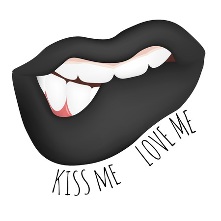 hesitation: sensual female mouth , teeth biting his lips. Vector illustration of female lips with black lipstick, lustful hint