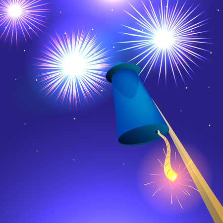 pyrotechnics: Blue racket before takeoff, vector illustration of fireworks, pyrotechnics conceptual illustration