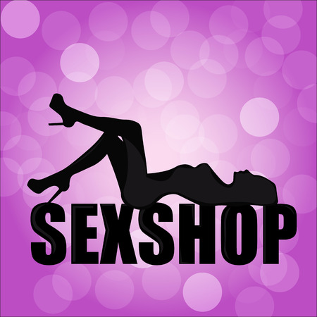 The slender silhouette of a sexy girl on background with blurry lights, logo for a sex shop
