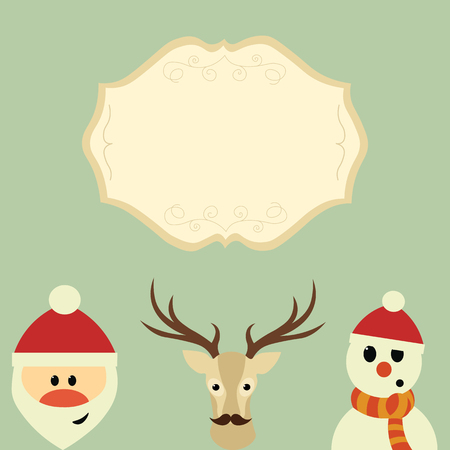 Merry Christmas. Christmas characters the reindeer, Santa and Snowman. banner for text Иллюстрация