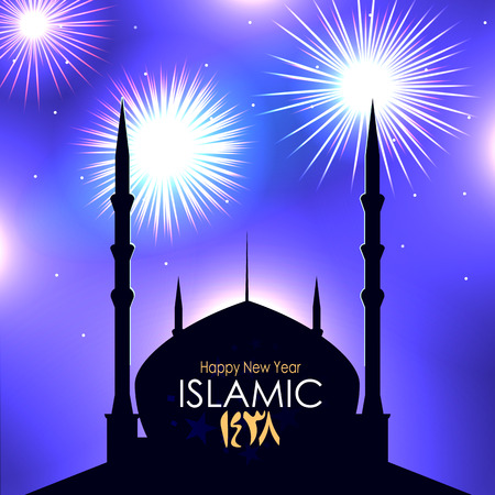 steadily: silhouette of a mosque on the background fireworks in the sky on festive night, happy new year for all Muslim communities
