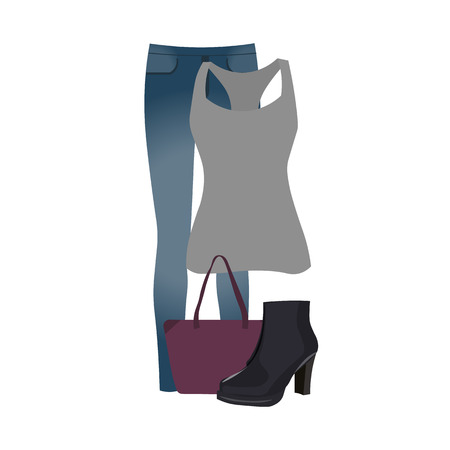 ankle: Vector set of clothes for everyday wear, youth clothes, jeans, t-shirt, ankle boots, handbag