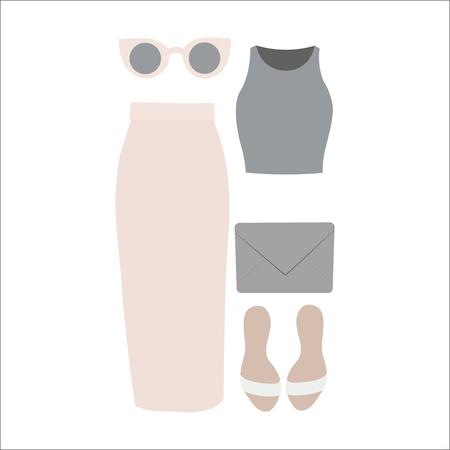 businesslike: Set of vector clothes for women. Business-like style. Long skirt, sunglasses, sandals and handbag