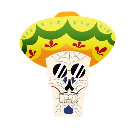 calavera caricatura: sombrero del cráneo pintada a mano, la máscara de la muerte mexicana en sambrero, día de los muertos