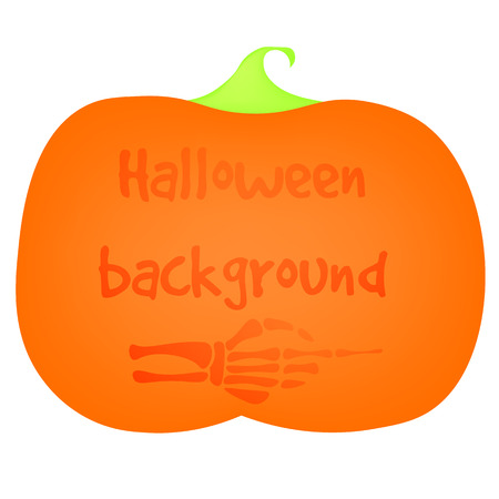 Pumpkin, the silhouette of the hand skeleton pointer, on a white background