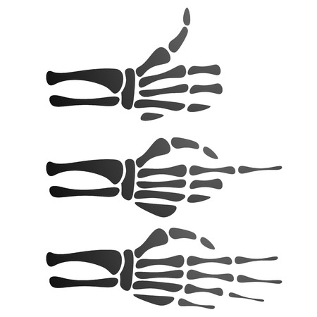 scaring: set of silhouette skeleton hand, different gestures, thumb up, pointer Illustration