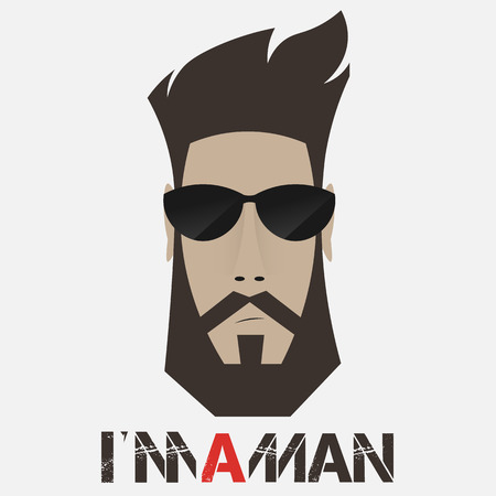 eyewear fashion: Portrait of a bearded man, a hipster in sunglasses template to print