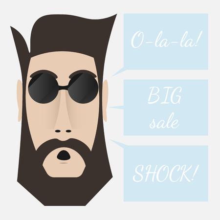 surprised man: The surprised man in dark glasses. Raised eyebrows and open mouth. Hipster with beard and moustache. Text: o La La, shock, big sale