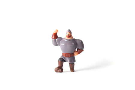 plastic soldier: Toy plastic man, a hero on a white background Stock Photo