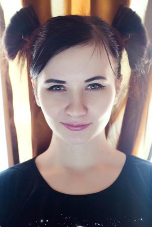 funny hair: Beautiful brunette Girl , funny hair Stock Photo