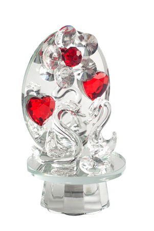 animal figurines: Crystal Swan isolated on white background, elegant, glass, souvenir, gift for a loved one,