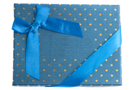 Gift box blue with blue ribbon isolated on white background, gift on 8th March, womens day,