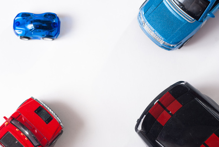 top animated: Colorful toy car, top view, white background, flat Stock Photo
