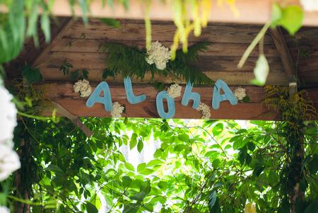 Aloha on wooden background, party Hawaiian-style, green thickets, Hawaiian background Stock Photo