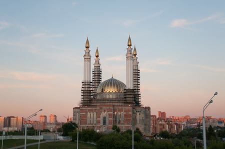 New mosque in the process of construction, Ufa Stock Photo