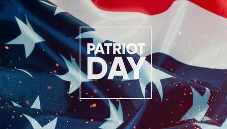 Baner Patriot Day, w tle amerykańska flaga Zdjęcie Seryjne
