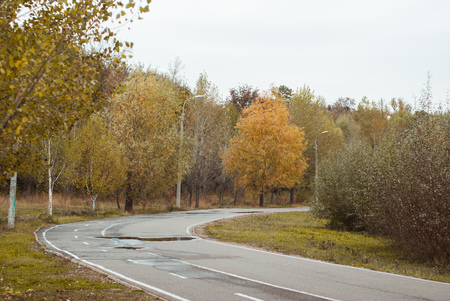 Jogging track in an autumn Park, a cloudy day, dreary landscape, Stock Photo