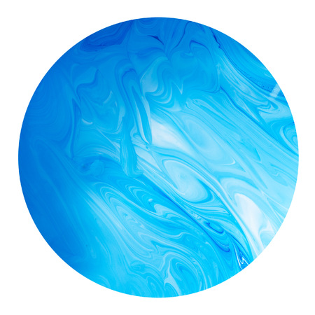 Blue planet isolated on white background. Abstract patterns of colors, blue and white paint to mix Stock Photo