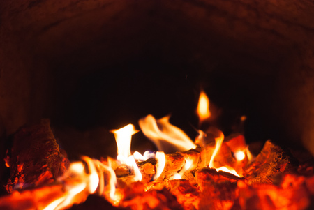 burning coals in a furnace, combustion wood furnace