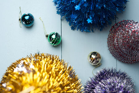 Decorative Christmas Tree Made Of Tinsel On A Blue Wooden Background Top View Glass
