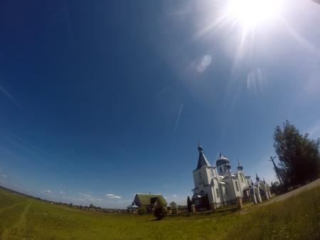 Beautiful white Church against the sky,