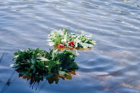 Folk tradition, wreaths of flowers, Rosalie folk festival Stock Photo